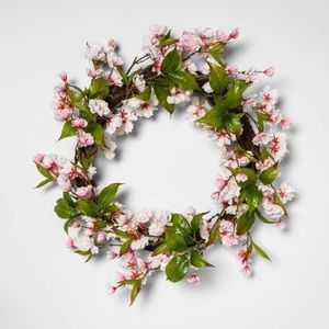 "THRESHOLD 18"" Artificial Cherry Blossom Wreath NWT"